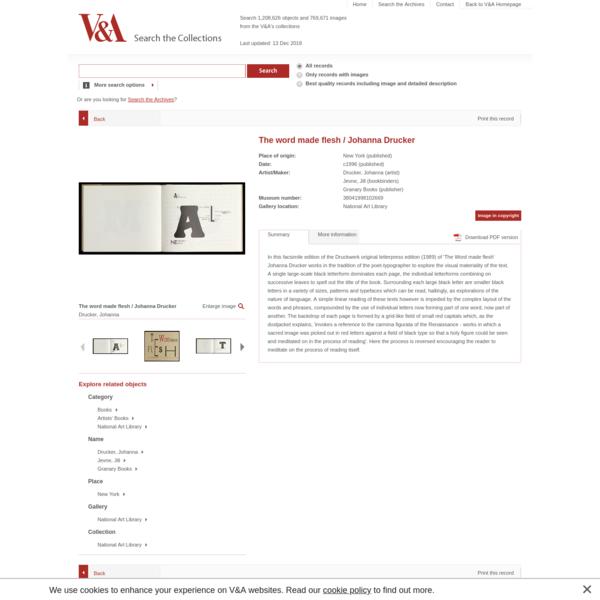 The word made flesh / Johanna Drucker | Drucker, Johanna | V&A Search the Collections