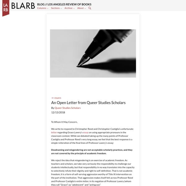 An Open Letter from Queer Studies Scholars - BLARB
