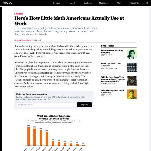 Remember sitting through high school math class while the teacher droned on about polynomial equations and thinking there wasn't a chance you'd ever use any of it in life? Well, if you're like most Americans, chances are your 17-year-old self was absolutely correct. As it turns out, less than a quarter of U.S.