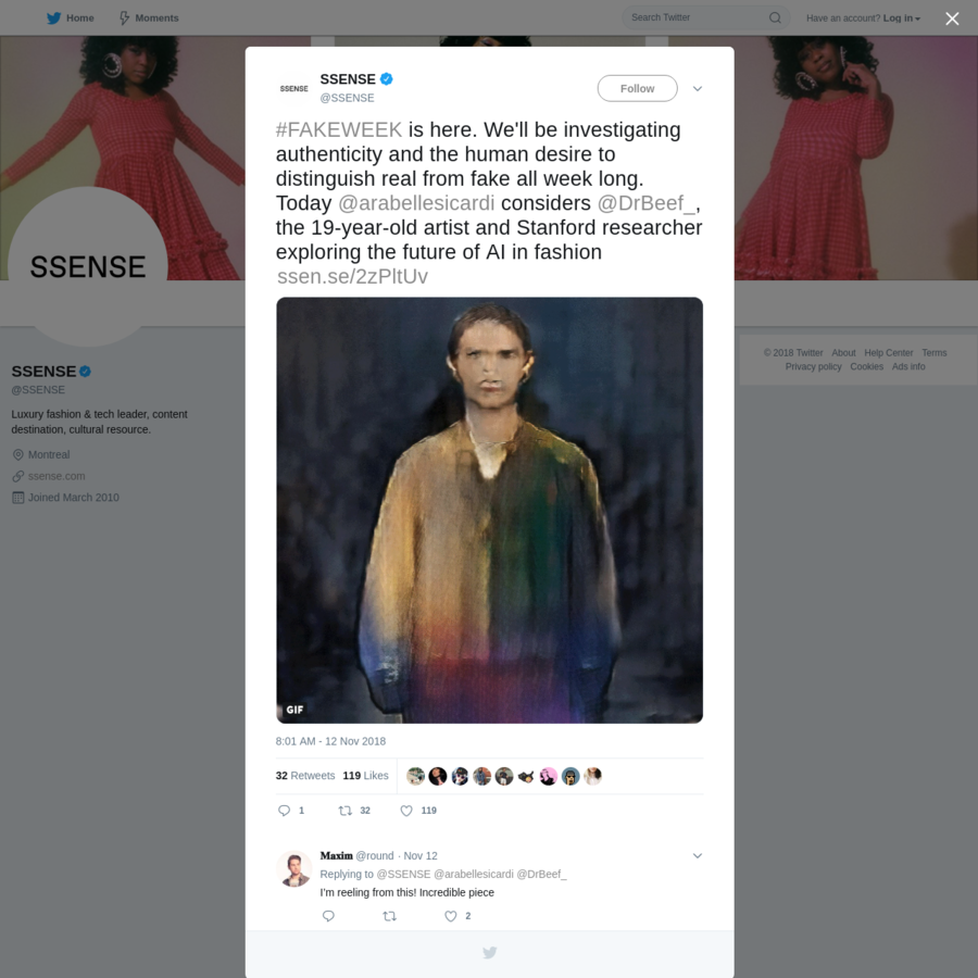 FAKEWEEK is here. We'll be investigating authenticity and the human desire to distinguish real from fake all week long. Today @arabellesicardi considers @DrBeef_, the 19-year-old artist and Stanford researcher exploring the future of AI in fashion https://t.co/jnNJNKAvoB https://t.co/3h0Gq9Zj8T