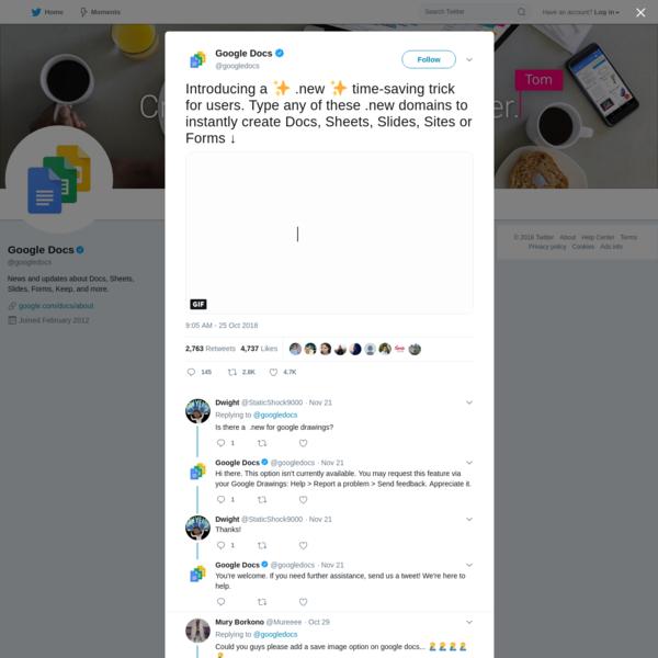 Google Docs on Twitter