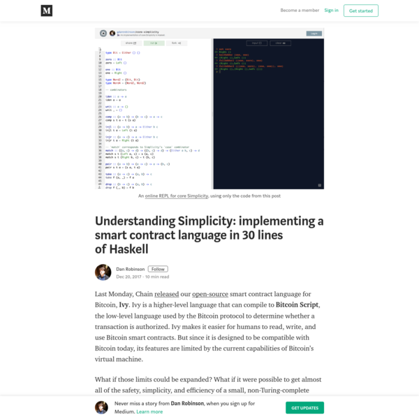 Understanding Simplicity: implementing a smart contract language in 30 lines of Haskell