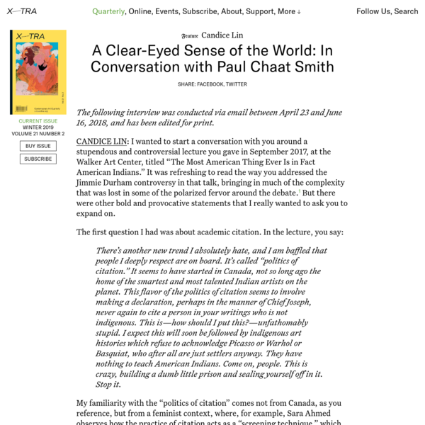 A Clear-Eyed Sense of the World: In Conversation with Paul Chaat Smith