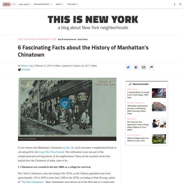 6 Fascinating Facts about the History of Manhattan's Chinatown