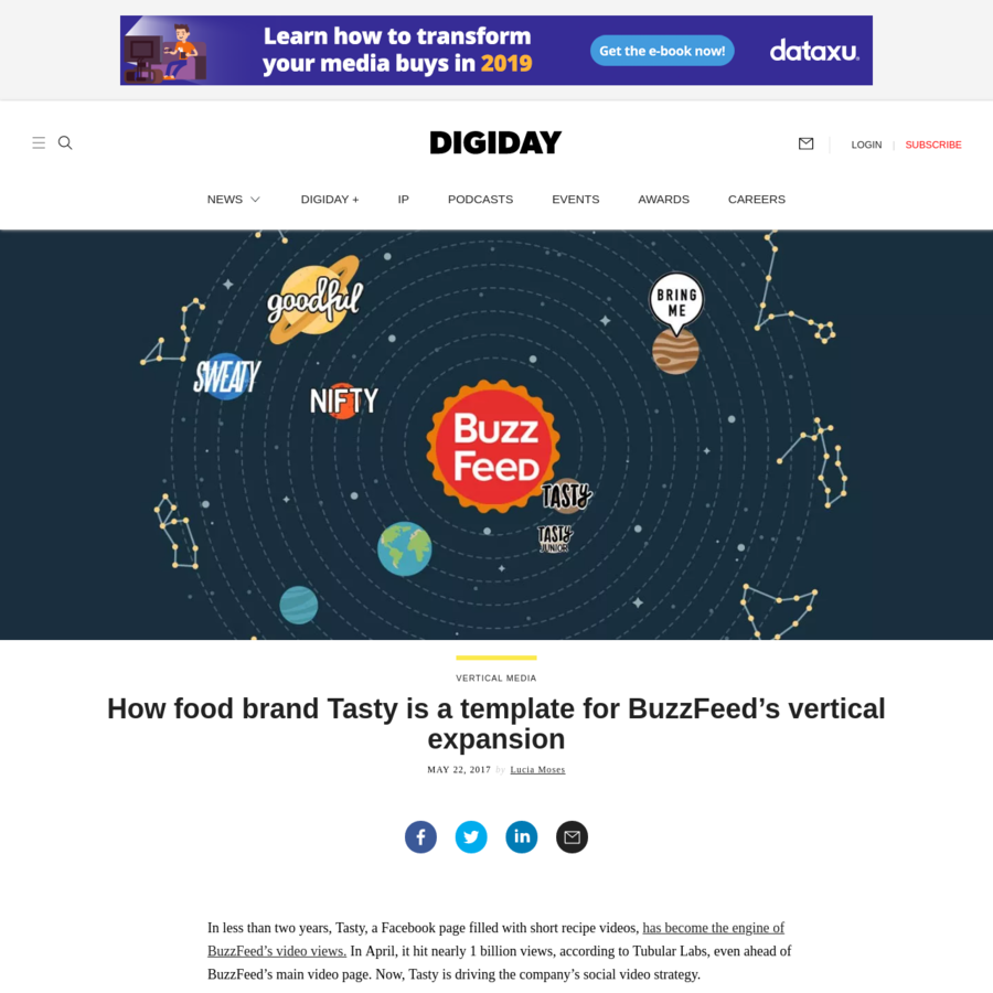 In less than two years, Tasty, a Facebook page filled with short recipe videos, has become the engine of BuzzFeed's video views. In April, it hit nearly 1 billion views, according to Tubular Labs, even ahead of BuzzFeed's main video page. Now, Tasty is driving the company's social video strategy.