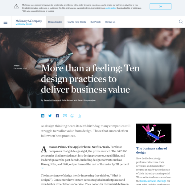 More than a feeling: Ten design practices to deliver business value