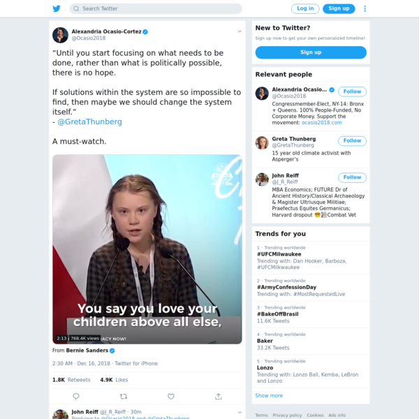 """Until you start focusing on what needs to be done, rather than what is politically possible, there is no hope. If solutions within the system are so impossible to find, then maybe we should change the system itself."""" - @GretaThunberg A must-watch. https://t.co/RboPxtIIEj"""