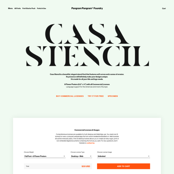 Casa Stencil is a beautiful, elegant stencil font that features soft curves and a sense of errosion.Its presence will definitely make your designs unique.It is made for all your title and logo needs.The font is free for personal use. 8 Free Posters with a Commercial License.