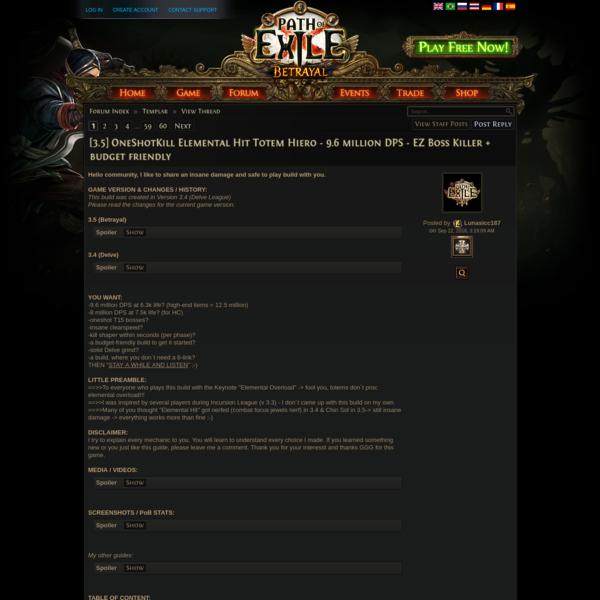 Forum - Templar - [3.5] OneShotKill Elemental Hit Totem Hiero - 9.6 million DPS - EZ Boss Killer + budget friendly - Path of...