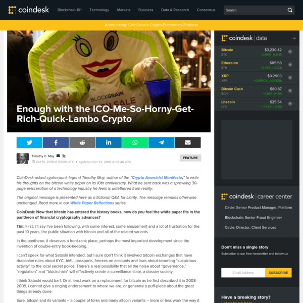 Enough with the ICO-Me-So-Horny-Get-Rich-Quick-Lambo Crypto - CoinDesk