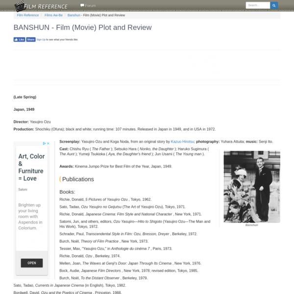 Banshun - Film (Movie) Plot and Review - Publications