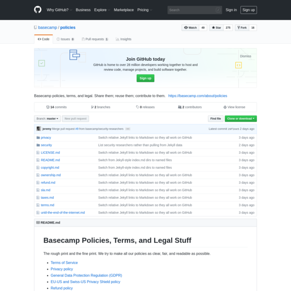 Basecamp policies, terms, and legal. Share them; reuse them; contribute to them. - basecamp/policies