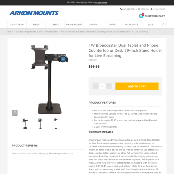 Arkon Mounts HD8TAB29 29 Inch Tall TW Broadcaster Dual Tablet iPad and Phone iPhone Stand for Live Streaming Live Video on P...