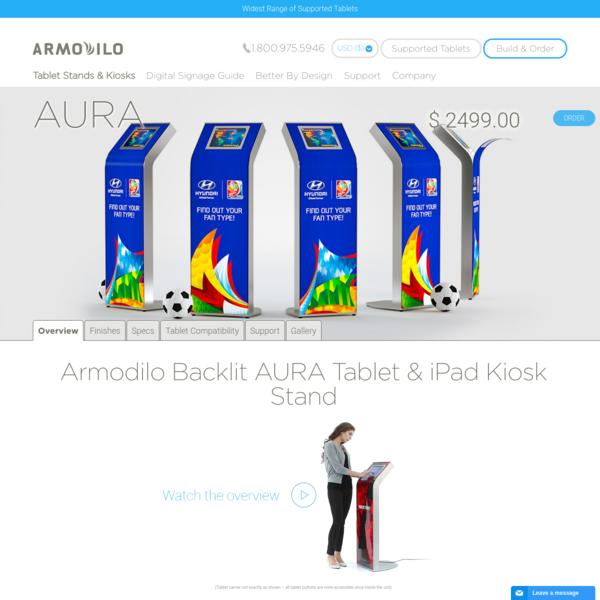 """Armodilo AURA Custom Branded Tablet & iPad Kiosk Stand """" Armodilo"""
