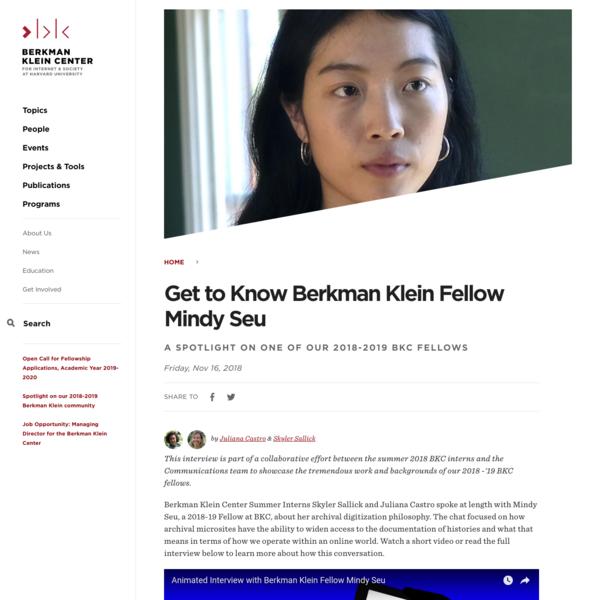 Get to Know Berkman Klein Fellow Mindy Seu