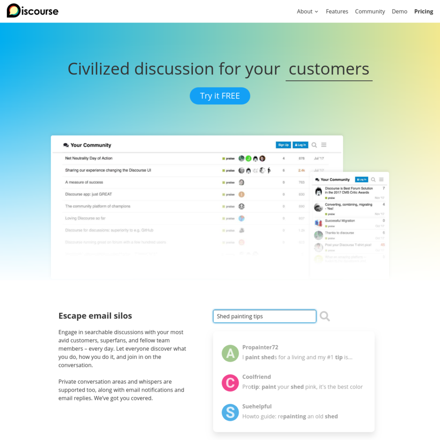 Discourse is modern forum software for your community. Use it as a mailing list, discussion forum, long-form chat room, and more!