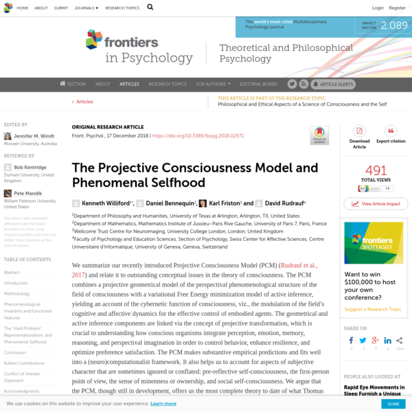 Frontiers | The Projective Consciousness Model and Phenomenal Selfhood | Psychology