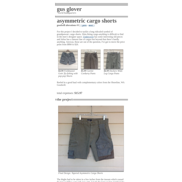 Goodwill Alterations: Asymetric Cargo Shorts | Gus Glover