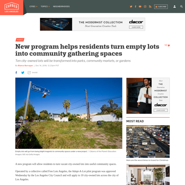 A new program will allow residents to turn vacant city-owned lots into useful community spaces. Operated by a collective called Free Lots Angeles, the Adopt-A-Lot pilot program was approved Wednesday by the Los Angeles City Council and will apply to 10 city-owned lots across the city of Los Angeles.