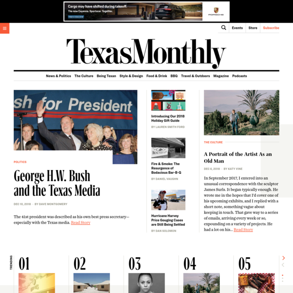 The Best Texas Monthly Longform of 2018 It's that time of year again. A time for reflection and a time to celebrate of some Texas Monthly's best writing in 2018.