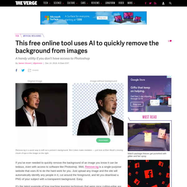 If you've ever needed to quickly remove the background of an image you know it can be tedious, even with access to software like Photoshop. Well, Remove.bg is a single-purpose website that uses AI to do the hard work for you.