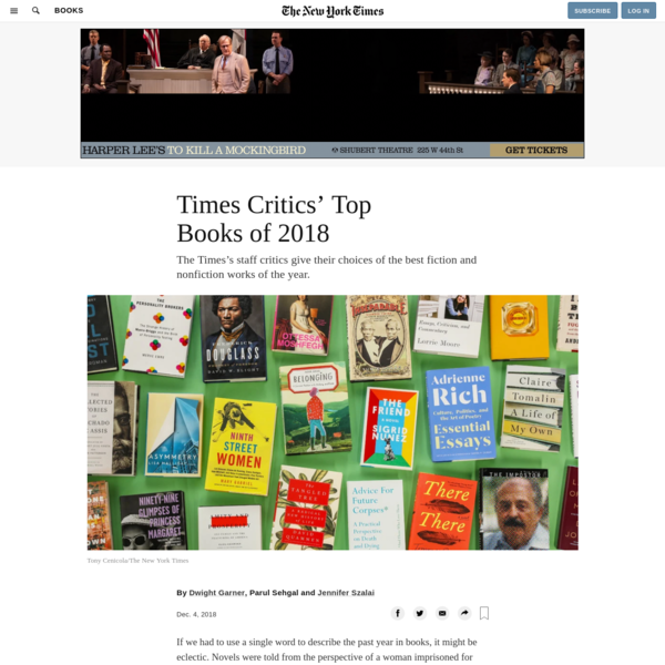 Times Critics' Top Books of 2018 - The New York Times