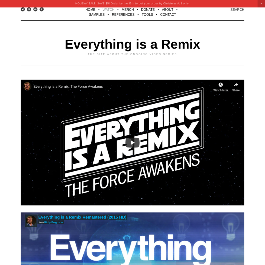"""The site about the video series """"Everything is a Remix"""" by Kirby Ferguson"""