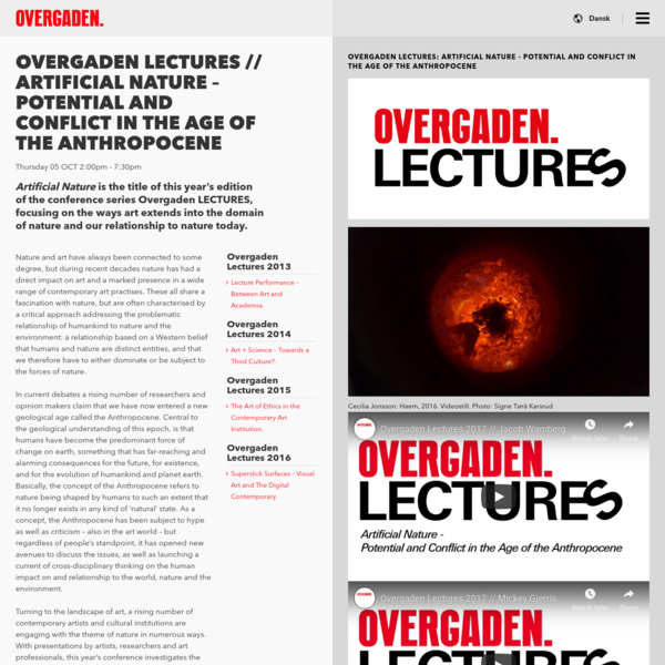 """"""" Overgaden LECTURES // Artificial Nature - Potential and Conflict in the Age of the Anthropocene"""