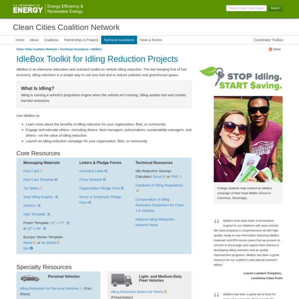 Clean Cities Coalition Network: IdleBox Toolkit for Idling Reduction Projects