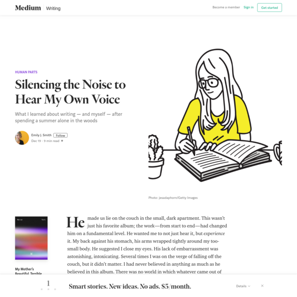 Silencing the Noise to Hear My Own Voice - Human Parts - Medium