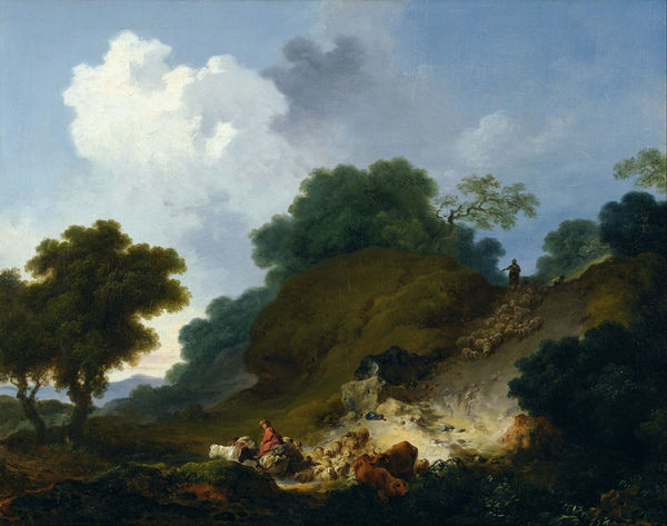 Landscape with Shepherds and Flock of Sheep - Fragonard