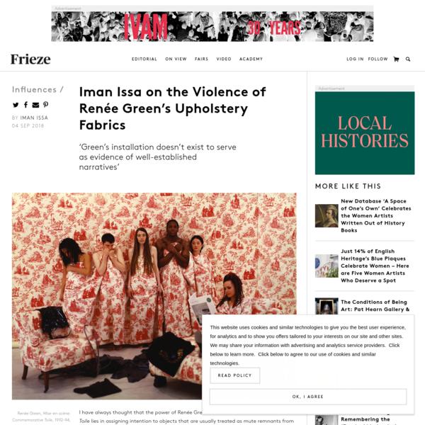 Iman Issa on the Violence of Renée Green's Upholstery Fabrics
