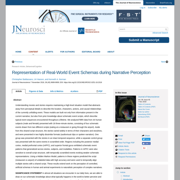 Representation of Real-World Event Schemas during Narrative Perception