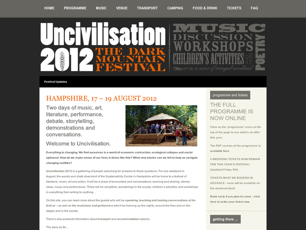 Uncivilisation 2012 | the sustainability centre, hampshire: 17 - 19 August 2012 | Uncivilisation 2012