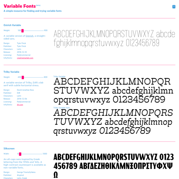 A simple resource for finding and trying variable fonts.