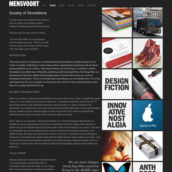 Mensvoort.com - Home of artist, technologist and philosopher Koert van Mensvoort - Society of Simulations