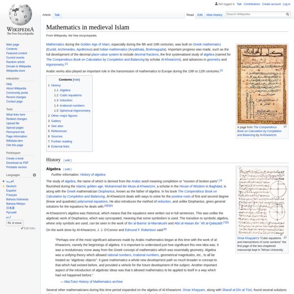 Mathematics in medieval Islam - Wikipedia