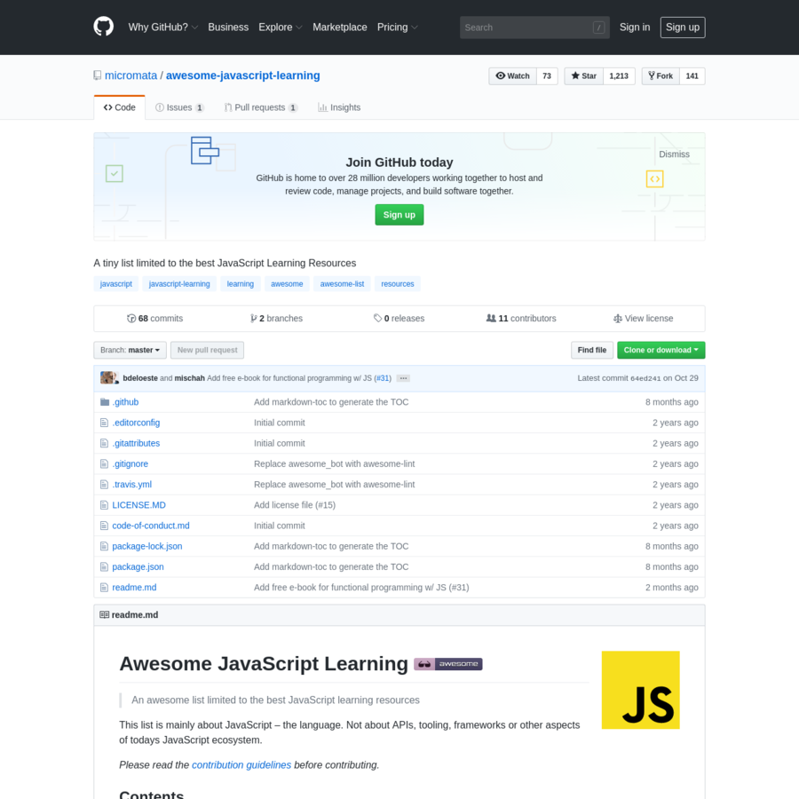 A tiny list limited to the best JavaScript Learning Resources - micromata/awesome-javascript-learning