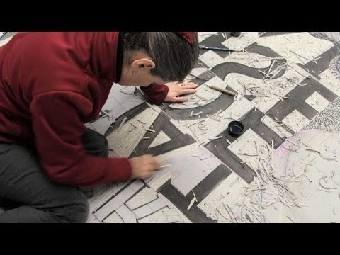 Angela Cavalieri: large scale linocut printmaking process