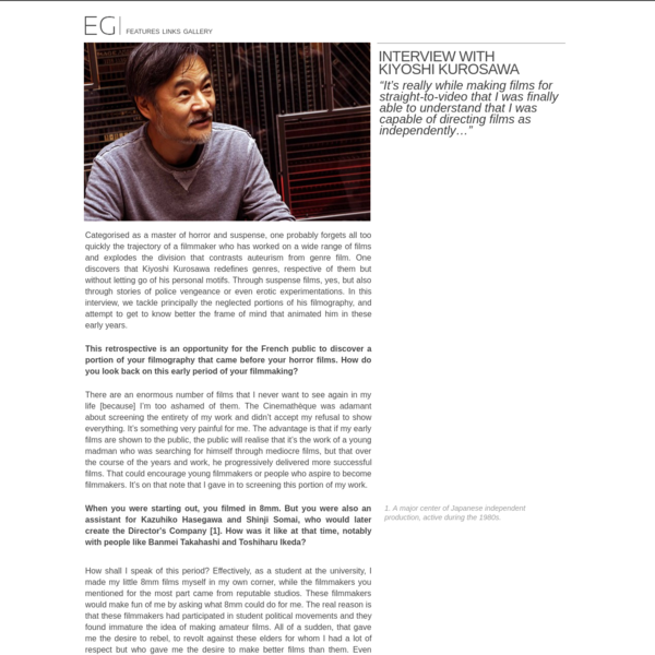 Interview with Kiyoshi Kurosawa | Eigagogo - Exploring Japanese Cinema
