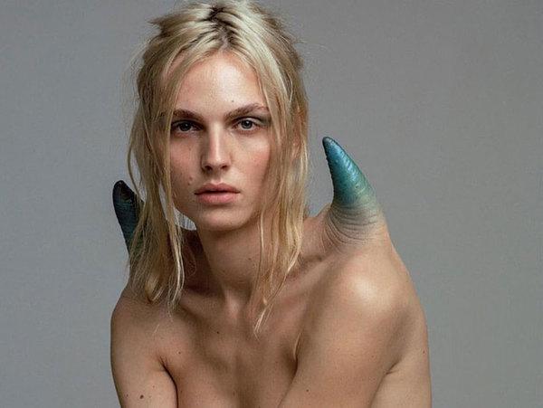 Transgender supermodel Andreja Pejic wears skin-sculpted shoulders, by designer Nicola Formichetti.