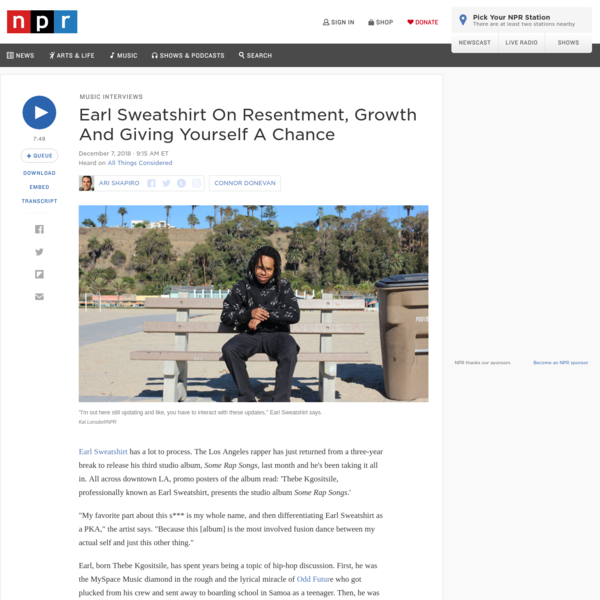 Earl Sweatshirt On Resentment, Growth And Giving Yourself A Chance
