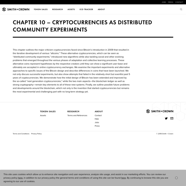 Chapter 10 - Cryptocurrencies as Distributed Community Experiments - Smith + Crown