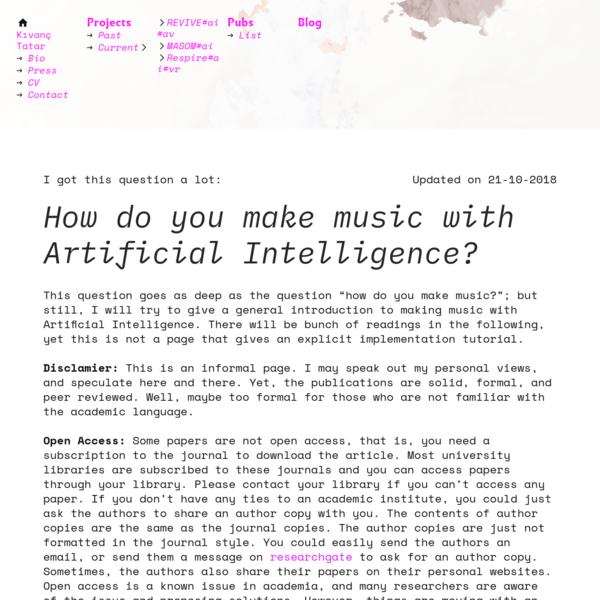 An Introduction to Creative Artificial Intelligence for Music - Kıvanç Tatar