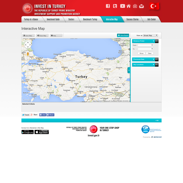 Interactive map allowing users to select multiple layers and markers such as population density, incentive zones, airports and OIZs, etc. in Turkey.