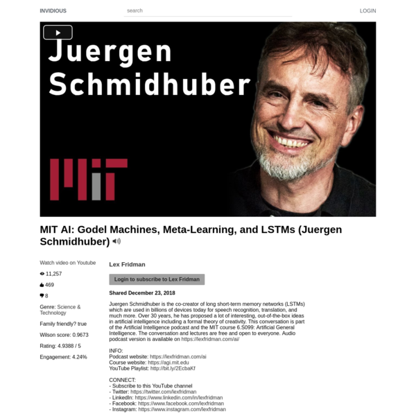 MIT AI: Godel Machines, Meta-Learning, and LSTMs (Juergen Schmidhuber)
