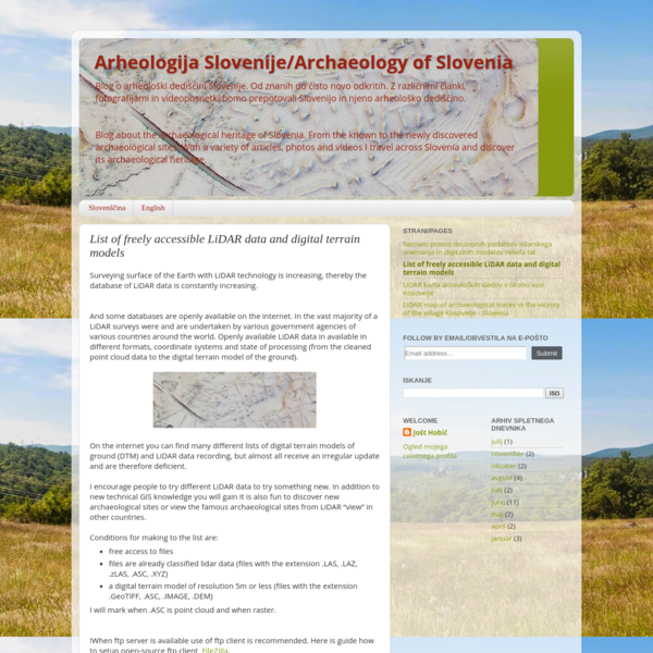 Arheologija Slovenije/Archaeology of Slovenia: List of freely accessible LiDAR data and digital terrain models