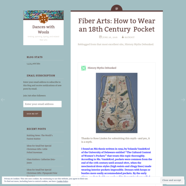Fiber Arts: How to Wear an 18th Century Pocket