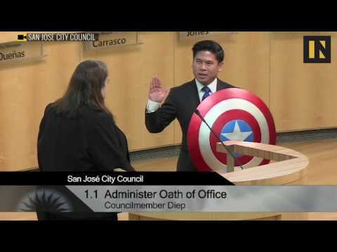 San Jose councilman is sworn in with Captain America's shield