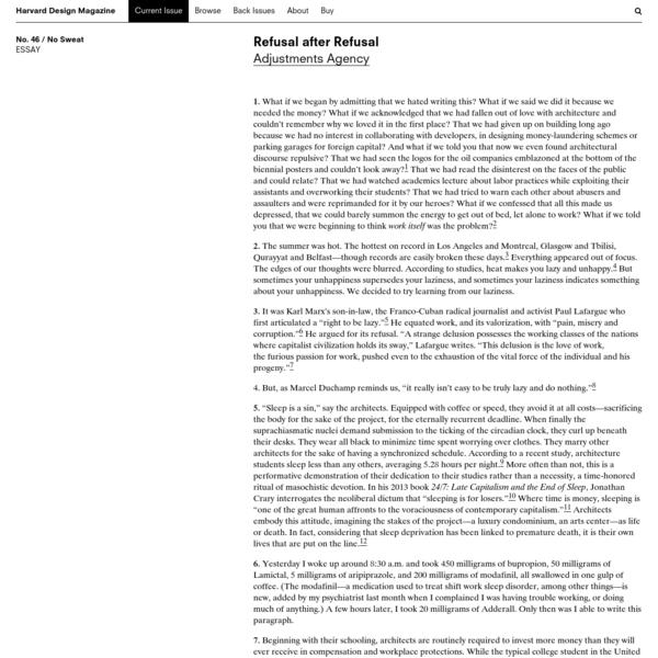 Harvard Design Magazine: Refusal after Refusal